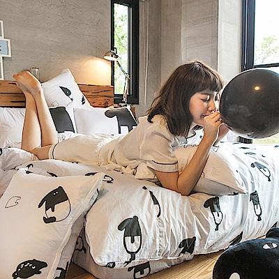 戀家小舖 / 雙人床包枕套組  經典黑白款-馬來貘的日常  100%精梳棉  台灣製