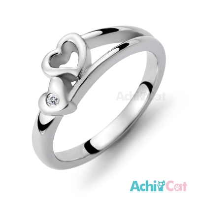 AchiCat 珠寶白鋼戒指尾戒 兩情相悅 愛心