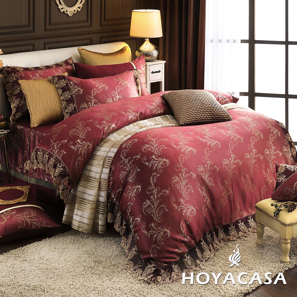 HOYACASA璀璨金奢 加大八件式蕾絲緹花兩用被床罩組(贈一被兩枕)