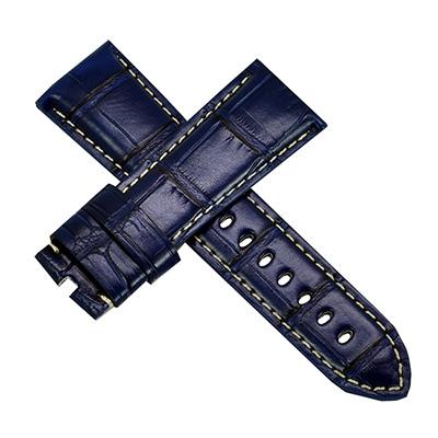 【手表達人】Panerai 沛納海代用進口錶帶-鱷魚紋/深藍/26mm