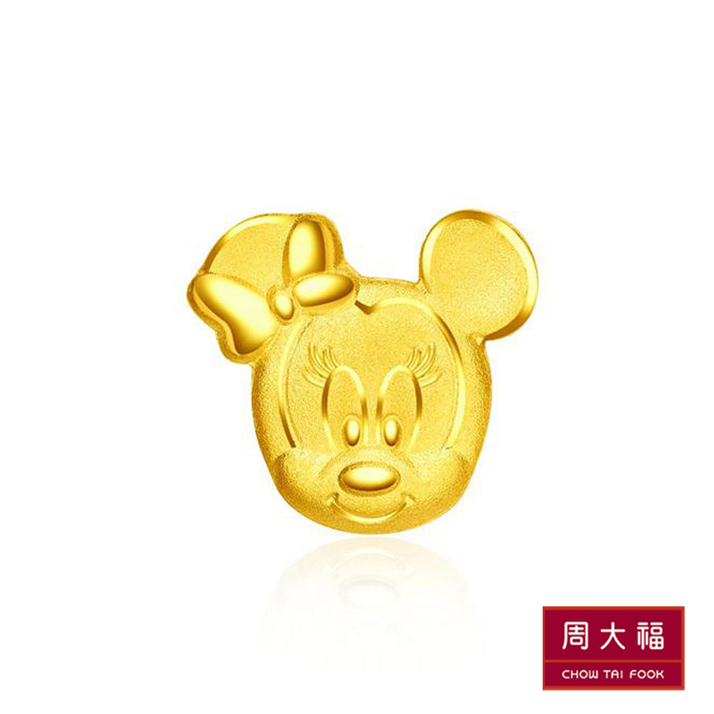 周大福 迪士尼經典系列 可愛米妮黃金耳環(單耳)