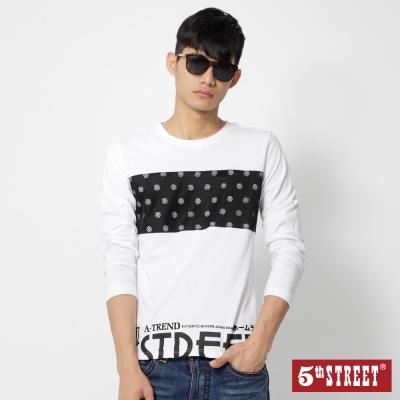 5th-STREET-潮流運動風棒球剪接T恤-男-白色