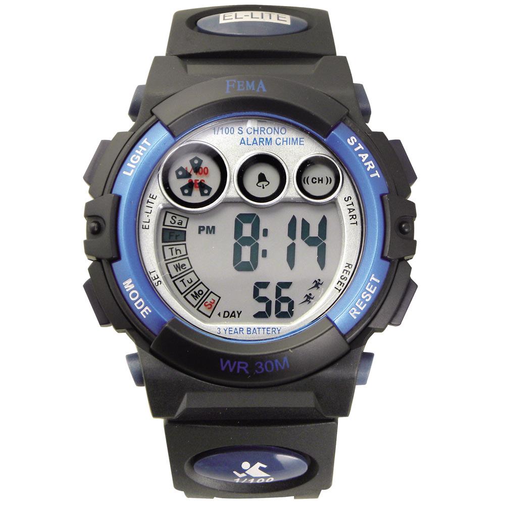 FEMA 百變造型 計時鬧鈴 數位運動錶(P239B)-黑X藍-43mm