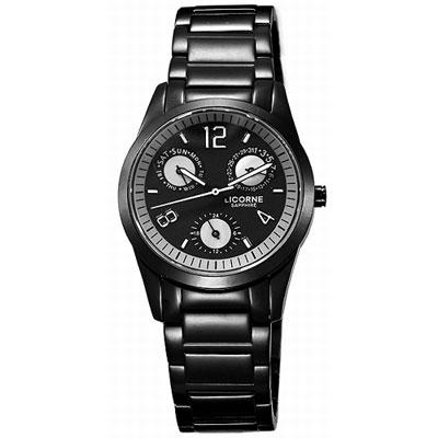LICORNE MILANO系列 科幻物語三眼時尚腕錶-IP黑/31mm