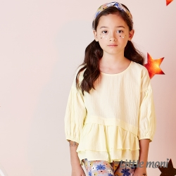 Little moni 浪漫荷葉下襬襯衫 黃色