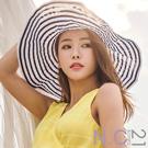 N.C21- 韓製法式條紋遮陽可摺疊寬簷帽 (條紋)