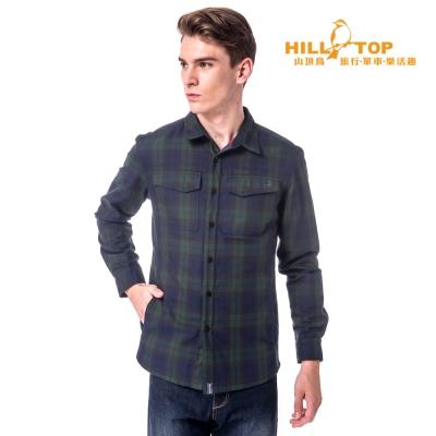 【hilltop山頂鳥】男款吸濕科技保暖棉長襯衫C05M19綠/深藍格子