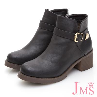 JMS-品味魅力素面皮帶金屬扣飾短靴-黑色