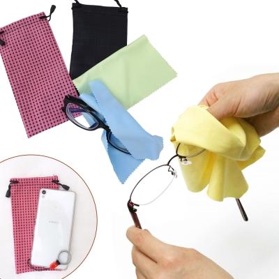 【超值3入】kiret 9X17 超細纖維收納袋組小物 眼鏡袋-贈眼鏡布 多色隨機
