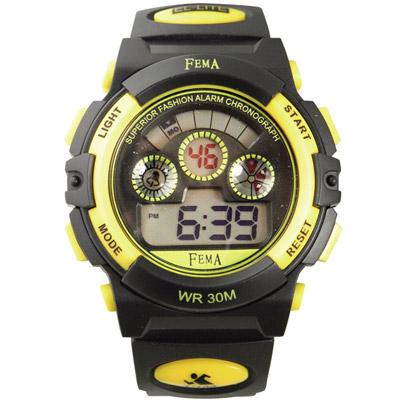 FEMA 超時空 計時鬧鈴運動錶(P279B)-黑黃/43mm