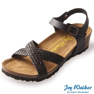 Joy Walker 交叉繫帶編織楔型涼鞋*黑色