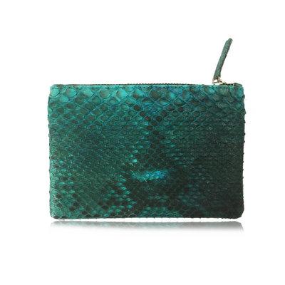 ACUBY 限量單品手工蛇皮手拿包/薄荷綠