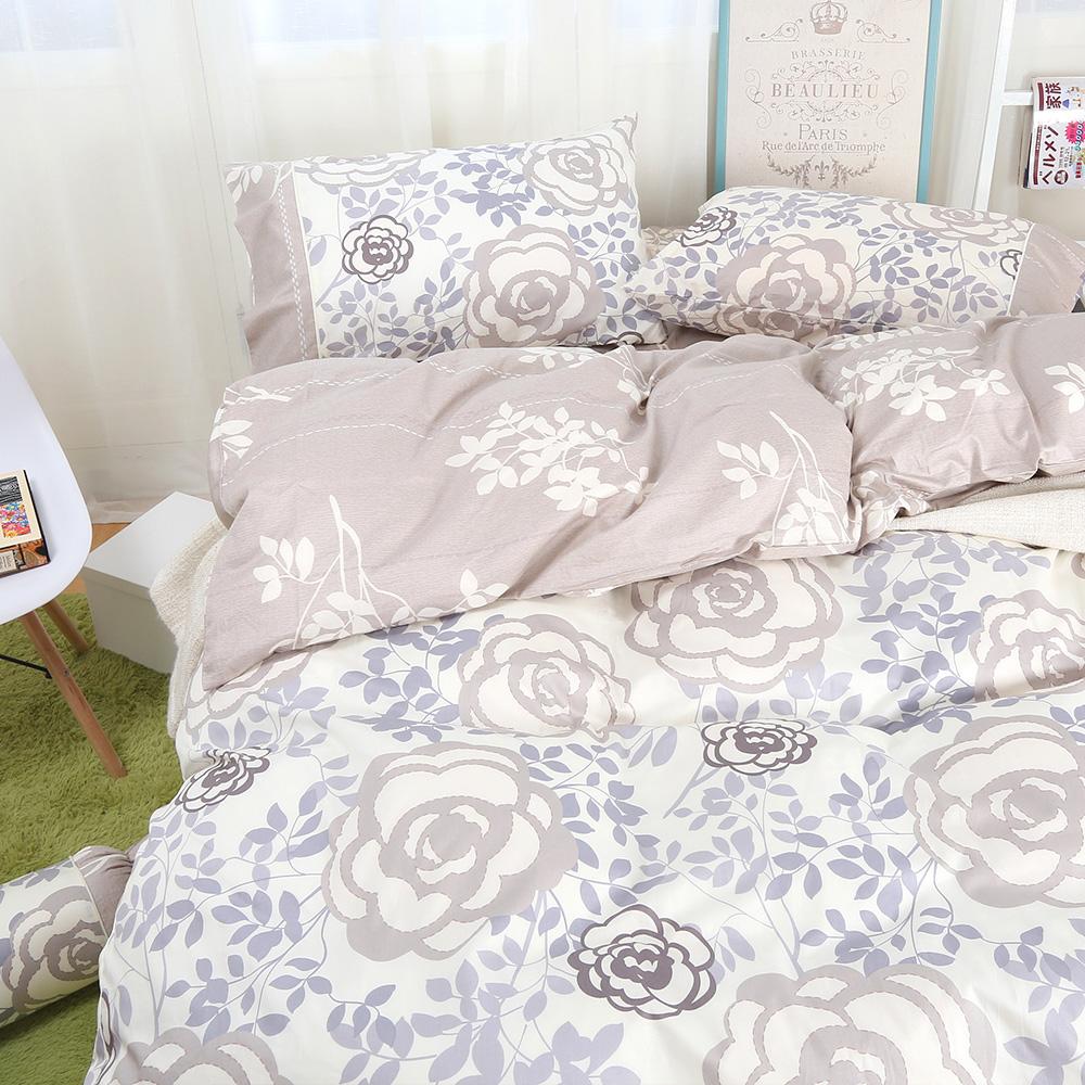 鴻宇HongYew 100%精梳棉 香榭玫瑰 雙人床包枕套三件組