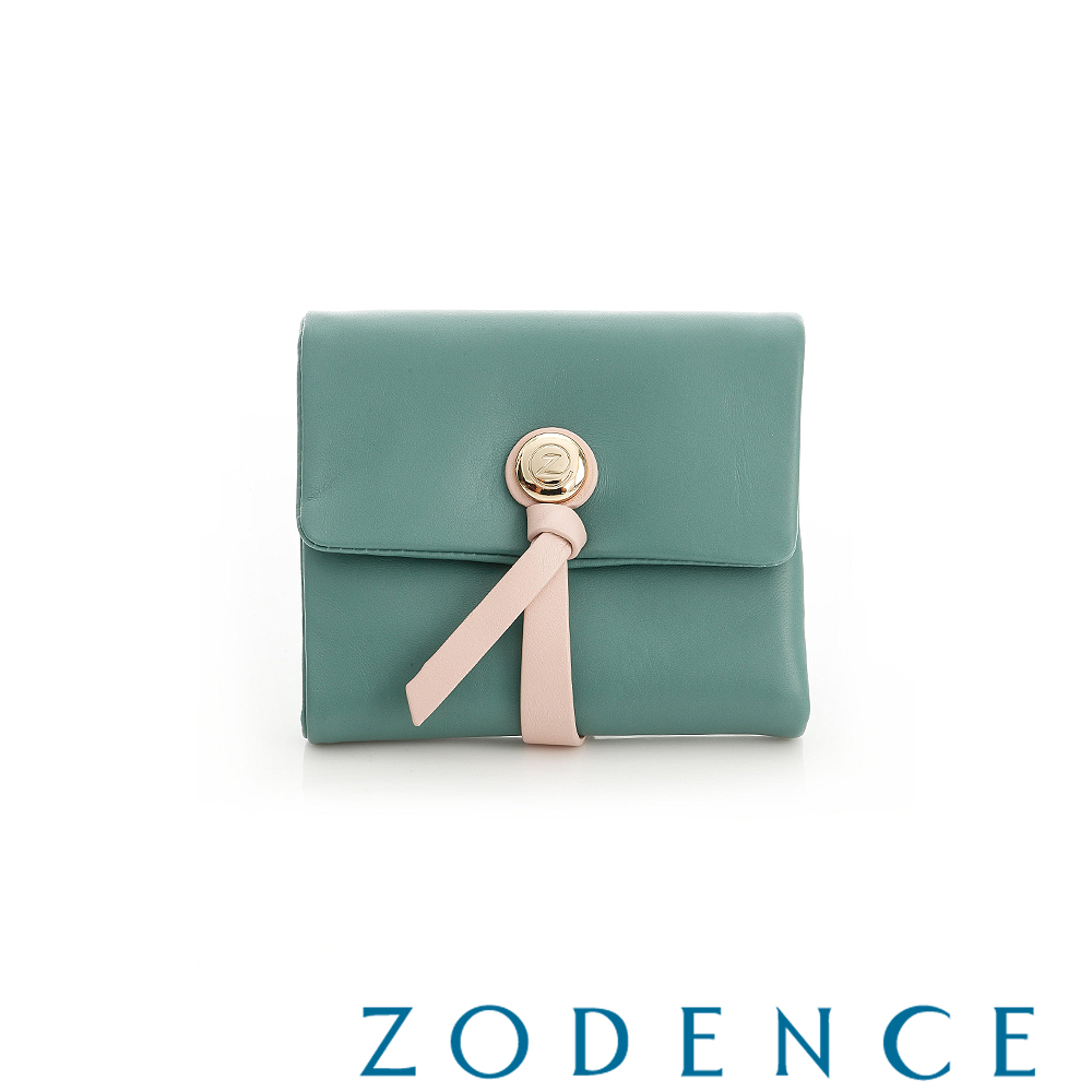ZODENCE 義大利羊皮柔軟繩扣設計短夾 綠