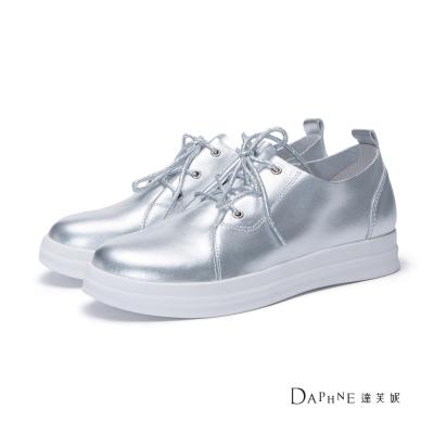 達芙妮DAPHNE-平底鞋-綁帶牛皮尖頭平底休閒鞋-銀