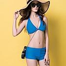 沙兒斯 泳裝 橫紋外罩衫三件式比基尼女泳裝