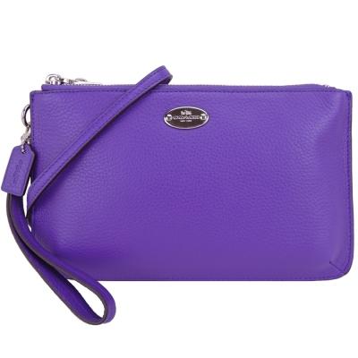 COACH-鐵牌皮革三層迷你斜背包-紫