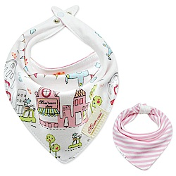 Baby unicorn 粉色城鎮造型純棉雙面三角造型圍兜口水巾