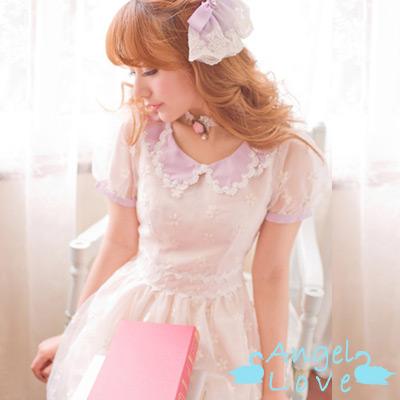 【Angel Love】紫羅蘭泡泡袖歐根紗洋裝(杏色)