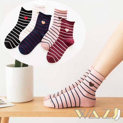 Wazi-條紋小愛心卷邊口中筒襪 (1組五入)