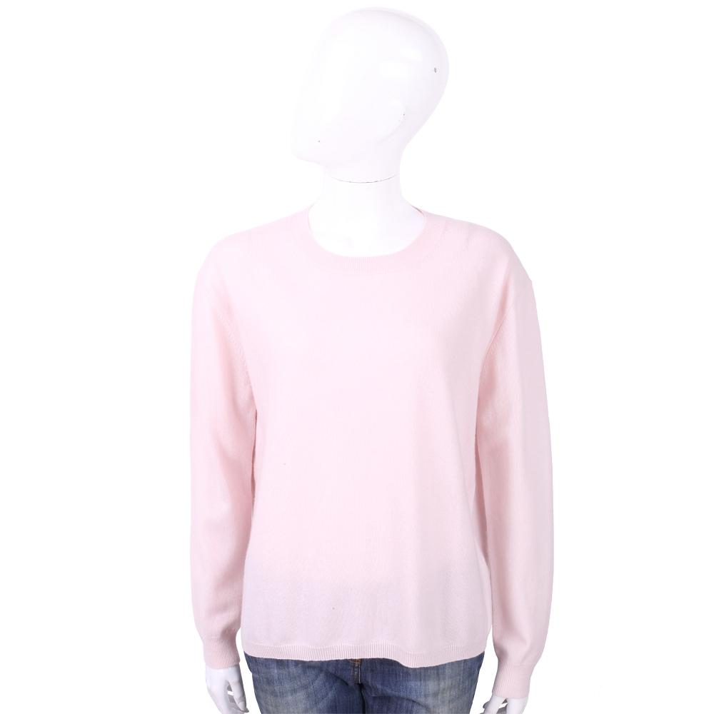 ALLUDE 喀什米爾淺粉純色極簡針織羊毛衫