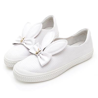 PLAYBOY兔耳甜心 蝴蝶結真皮樂福鞋-白