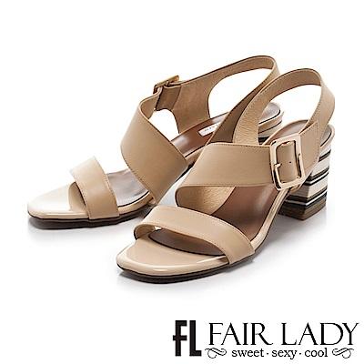 Fair Lady 復古繞帶玩色方頭塊根涼鞋 卡其