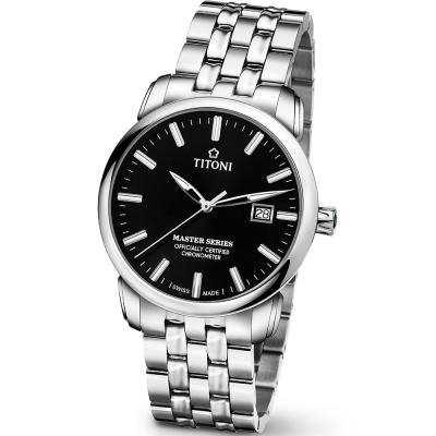 TITONI瑞士梅花錶 大師系列(83188 S-577)-黑/41mm