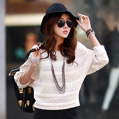 麻花織紋飛鼠袖針織衫 (共四色)-N.C21
