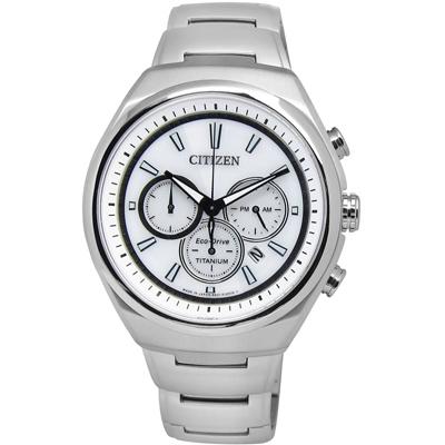 CITIZEN 完美典範三環光動能鈦金屬手錶(CA4021-51A)-白色/42mm