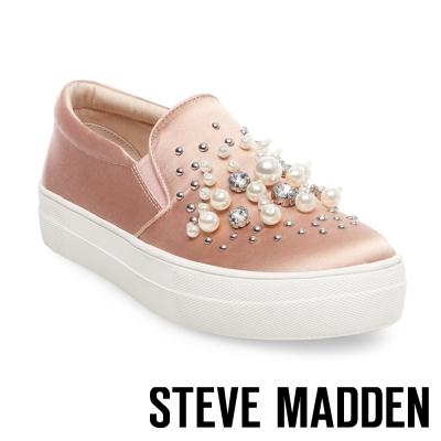 STEVE MADDEN-GLAMOUR-BLUSH 珍珠鑽飾平底懶人鞋-粉紅