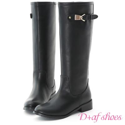 D+AF 話題指標.質感立體金屬釦環筆直長靴*黑