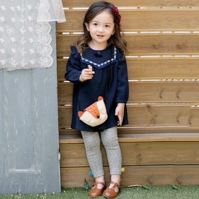 BEBEZOO 韓國 寶藍色流蘇長袖洋裝