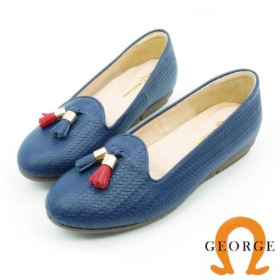 GEORGE 喬治-通勤系列 真皮編織撞色流蘇平底鞋 藍色