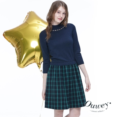 OUWEY歐薇-立領針織短袖格紋洋裝-藍