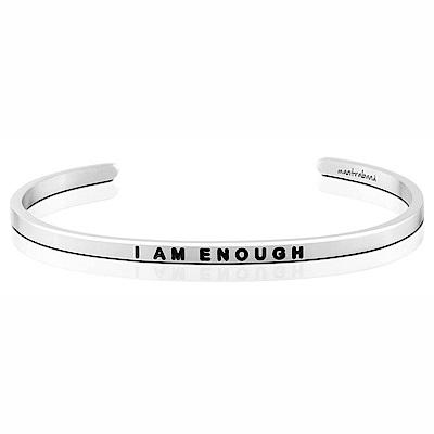 MANTRABAND 美國悄悄話手環 I Am Enough 我已足夠 銀色手環