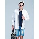 網眼補丁設計拉鏈長袖襯衫‧男3色-OB大尺碼