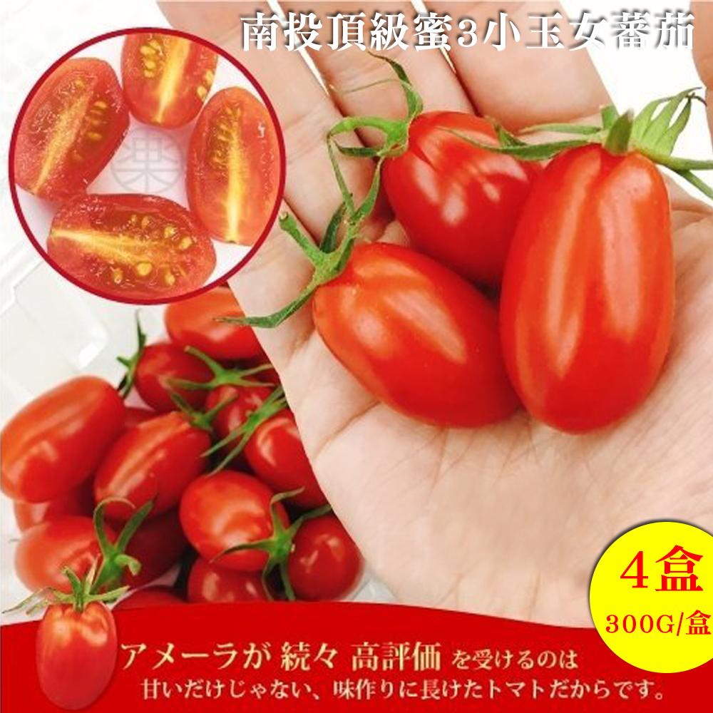 果之蔬 南投頂級蜜3小玉女蕃茄 4盒 300g/盒±10%(含盒重)