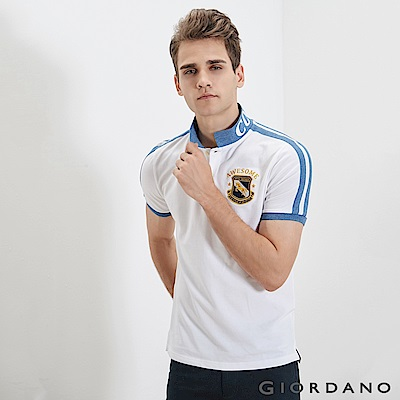 GIORDANO 男裝經典撞色刺繡彈力棉POLO衫-14 標誌白
