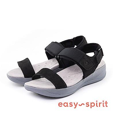 Easy Spirit--一字鬆緊魔鬼氈厚底涼鞋-百搭黑