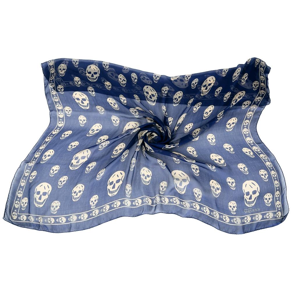 Alexander McQueen Skull 骷髏印花絲質披肩(藍色)