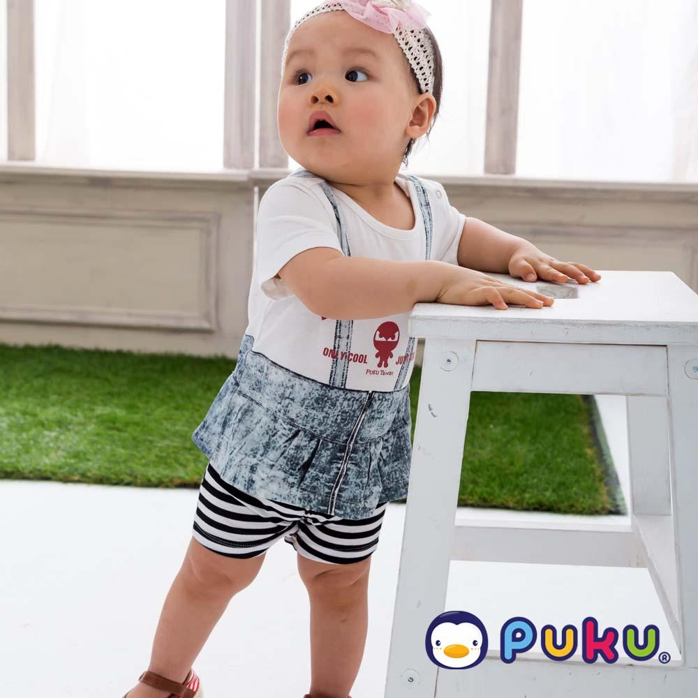PUKU藍色企鵝 簡單休閒假吊帶條紋連身裝(小童)