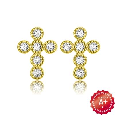A+黃金 精緻滿鑽小十字架 黃金耳環