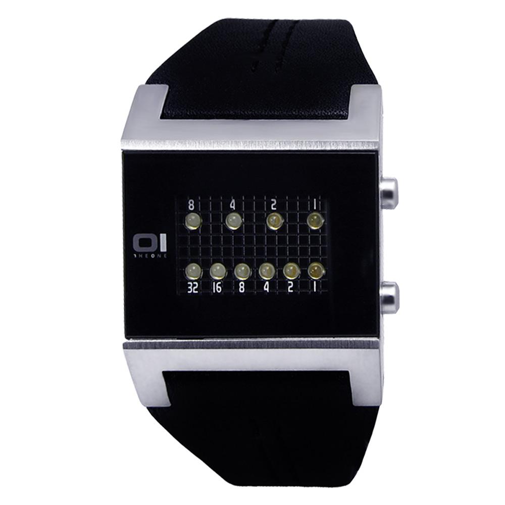 THE ONE 科技前衛‧二進制代碼LED屏手環式皮革腕錶-黑/31mm