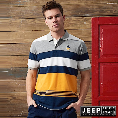 JEEP 品牌經典撞色條紋短袖POLO衫-黃色