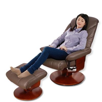 Sun Pin-薩克森貴族半牛皮躺椅+腳凳-棕灰色-DIY