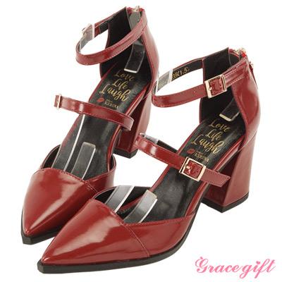 Grace gift X Kerina妞妞-後拉鍊雙帶設計感跟鞋 酒紅