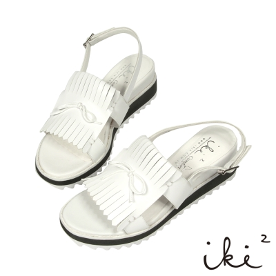 iki2-流蘇鋸齒厚底涼鞋 -純潔白