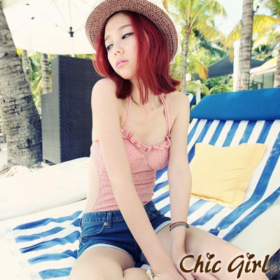【Chic Girl】甜美荷葉邊格紋連身泳裝 (共二色)