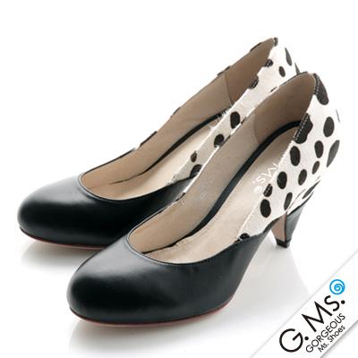 G.Ms. 搶眼奢華馬毛動物紋錐形跟鞋-乳牛x黑